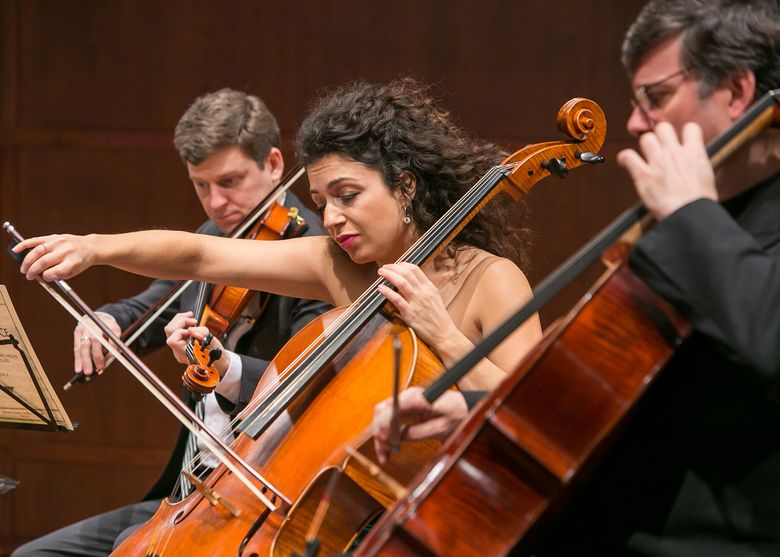 Jame Ehnes, left, Ani Aznavoorian and Andrs Daz in performance from a previous Seattle Chamber Music Festival Summer Festival. (Paul Joseph Brown)