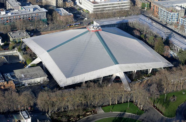 KeyArena, which hosts music and sports events in Seattle, is seen from the Space Needle. (Ted S. Warren/AP)