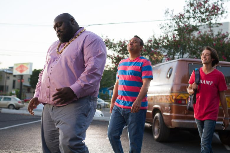 """""""Ripped"""" — with, from left, Faizon Love, Russell Peters and Bridger Zadina — is lightly amusing in a Cheech and Chong way.  (Rusk Photography)"""