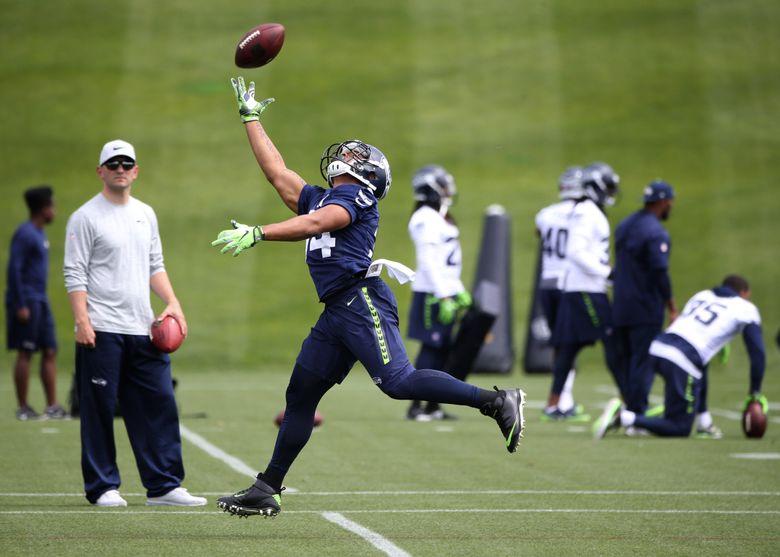 Running back Thomas Rawls during Seahawks minicamp, Wednesday, June 14, 2017, in Renton.  (Ken Lambert/The Seattle Times)