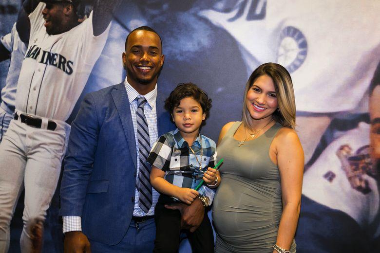 Mariners shortstop Jean Segura with his wife Kellen and their son Juan Diego. (Ben VanHouten/Seattle Mariners)