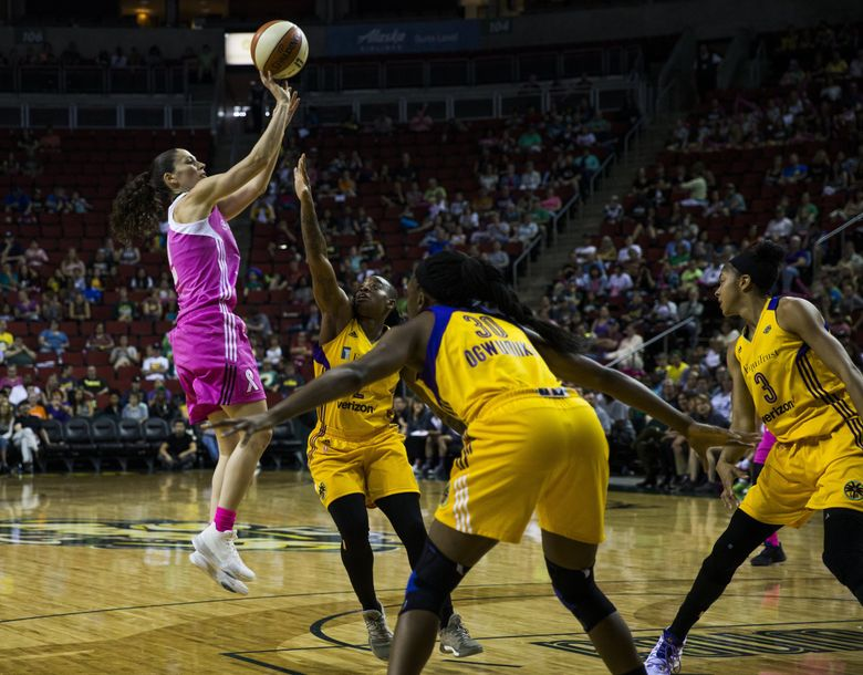 Storm guard Sue Bird goes up for a shot during the first quarter of their game against the Los Angeles Sparks on Saturday, July 8, 2017 at Key Arena. (Kjell Redal / The Seattle Times)