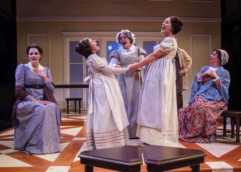 "Cayman Ilika, Sophia Franzella, Caitlin Frances, Chelsea LeValley and Kate Jaeger in ""Persuasion"" at Taproot Theatre. (Erik Stuhaug)"