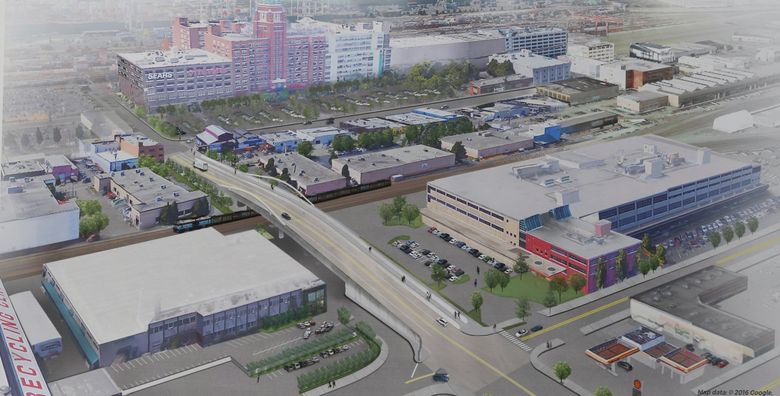 On Wednesday, this artist's conception shows the finished Lander Street overpass, lower left. At upper left is the Starbucks headquarters building. Construction on the overpass is expected to start in 2018. (Greg Gilbert/The Seattle Times)