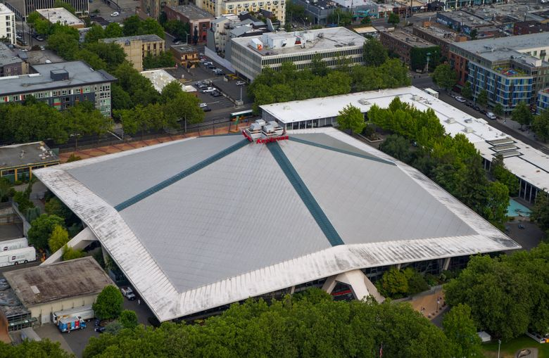 An aerial view of KeyArena. (Seattle Times file photo)
