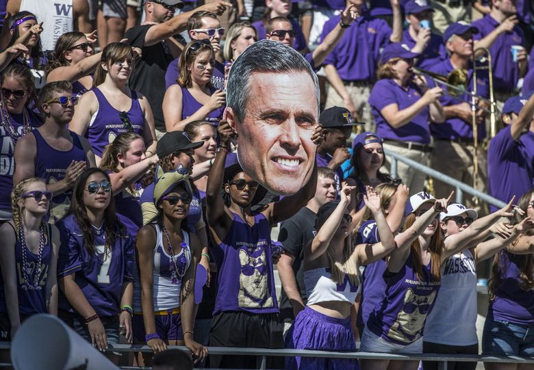 """Chris Petersen is not a fan of late kickoffs: """"It hurts us tremendously in terms of national exposure. No one wants to watch our game on the East Coast that late, and we all know it."""" (Steve Ringman / The Seattle Times)"""