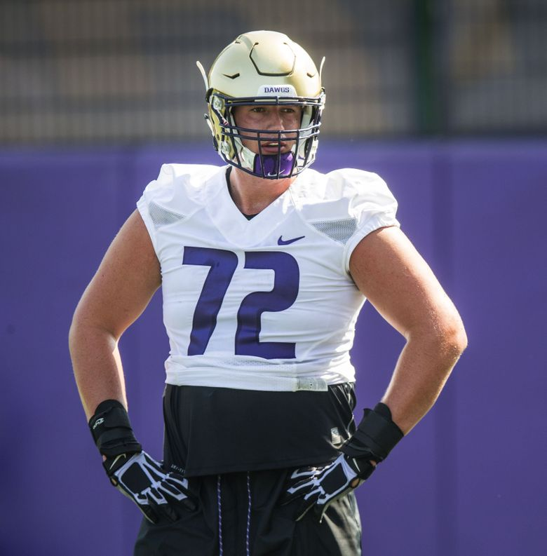 Washington left tackle Trey Adams was the first true freshman offensive lineman to every play for Chris Petersen, in 2015. (Dean Rutz/The Seattle Times)
