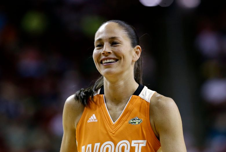 This July 22, 2017 photo shows Seattle Storm's Sue Bird smiling in the first half of the WNBA All-Star basketball game in Seattle. Bird moved into first place on a WNBA career list this season. She took over the top spot in assists. Diana Taurasi said in August that it was special playing with Bird at the All-Star Game this year because she never knew how many more times they'd both be on the court together. The WNBA playoffs get underway on Wednesday, Sept. 6, 2017 with two single-elimination games in the first round. (AP Photo/Elaine Thompson)