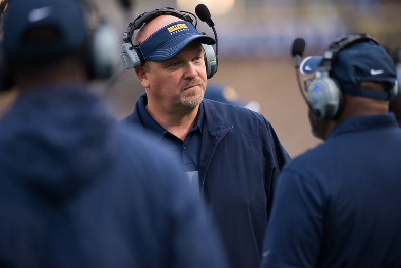 Bellevue High School football coach Mark Landes prepares for a game against Garfield earlier this month. (Amanda Ray)