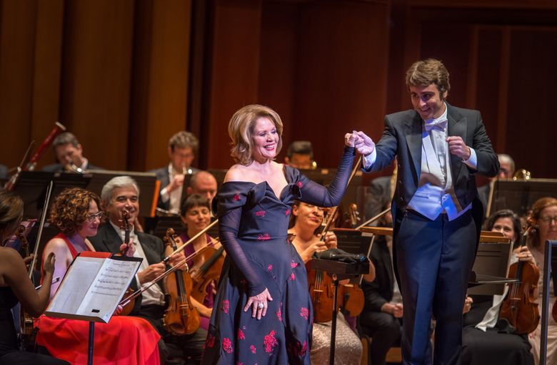 Soprano Renee Fleming, with Seattle Symphony Associate Director Pablo Rus Broseta, launched the orchestra's season with an opening-night concert Saturday. (Carlin Ma)