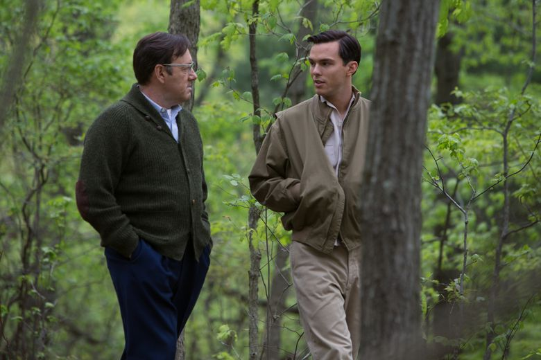 """Nicholas Hoult, right, stars as author J.D. Salinger and Kevin Spacey as his mentor in """"Rebel in the Rye."""" (Alison Cohen Rosa)"""