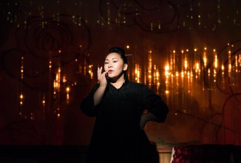 """Sara Porkalob plays characters representing three generations of her family in her one-actor show """"Dragon Lady."""" (Robert Wade/Intiman Theatre)"""