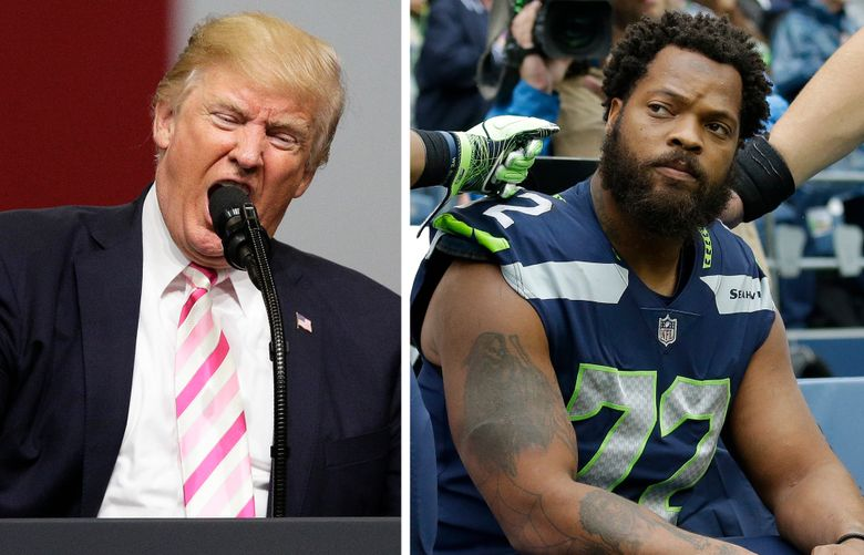 Left, Donald Trump speaks at a rally in Huntsville, Ala. Right, Michael Bennett sits during the national anthem in Seattle. (AP/Seattle Times staff)