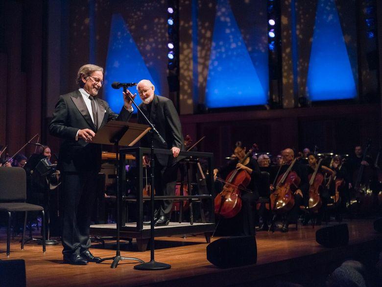 Steven Spielberg makes a surprise appearance at a  Seattle Symphony concert featuring John Williams. (Brandon Patoc)