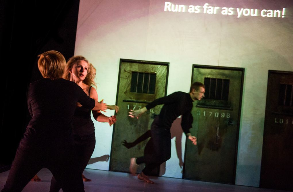 """Maryna Yurevich, Maria Alyokhina and Siarhei Kvachonak in Belarus Free Theatre's """"Burning Doors,"""" coming to On the Boards Sept. 28-Oct. 1. (Alex Brenner/ Belarus Free Theatre)"""