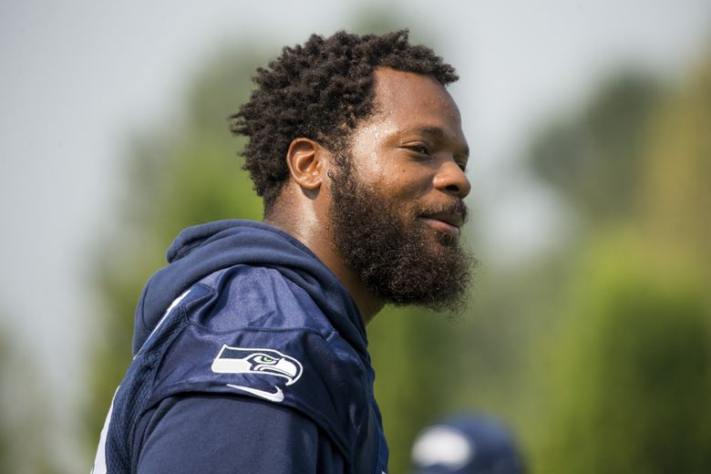 Seahawks defensive end Michael Bennett at Seattle Seahawks Training Camp at the Virginia Mason Athletic Center, Wednesday August 9, 2017.  (Bettina Hansen/The Seattle Times)