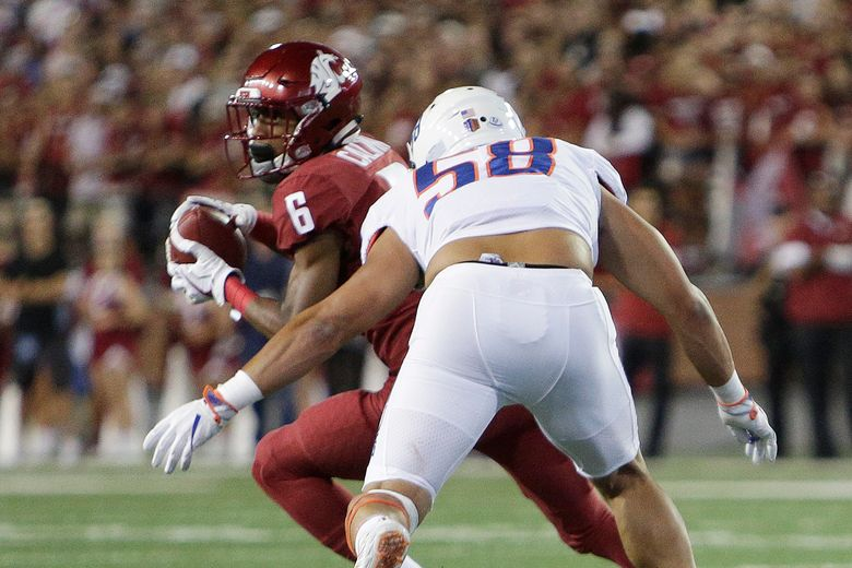 Washington State receiver Jamire Calvin catches a pass against Boise State last season, one of 33 receptions his freshman year. He has 15 in three games this season. (Young Kwak/AP)