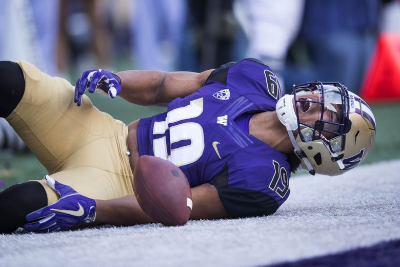Washington tight end Hunter Bryant yells out in pain after injuring his left knee diving for the pylon in the second quarter of the Huskies' game against UCLA Bruins at Husky Stadium in Seattle on Oct. 28, 2017. (Dean Rutz / The Seattle Times)