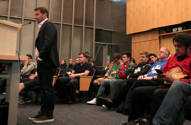 Chris Hansen of the Sonics' Arena Investment Group speaks on the KeyArena and Sodo arena proposals during a Seattle City Council meeting at City Hall, on Tuesday, Oct. 10, 2017.  (Courtney Pedroza/The Seattle Times)