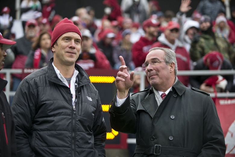 Washington State Athletic Director Bill Moos, right, with former WSU quarterback Drew Bledsoe prior to inducting him into the State of Washington's Sports Hall of Fame. (Dean Rutz / The Seattle Times)