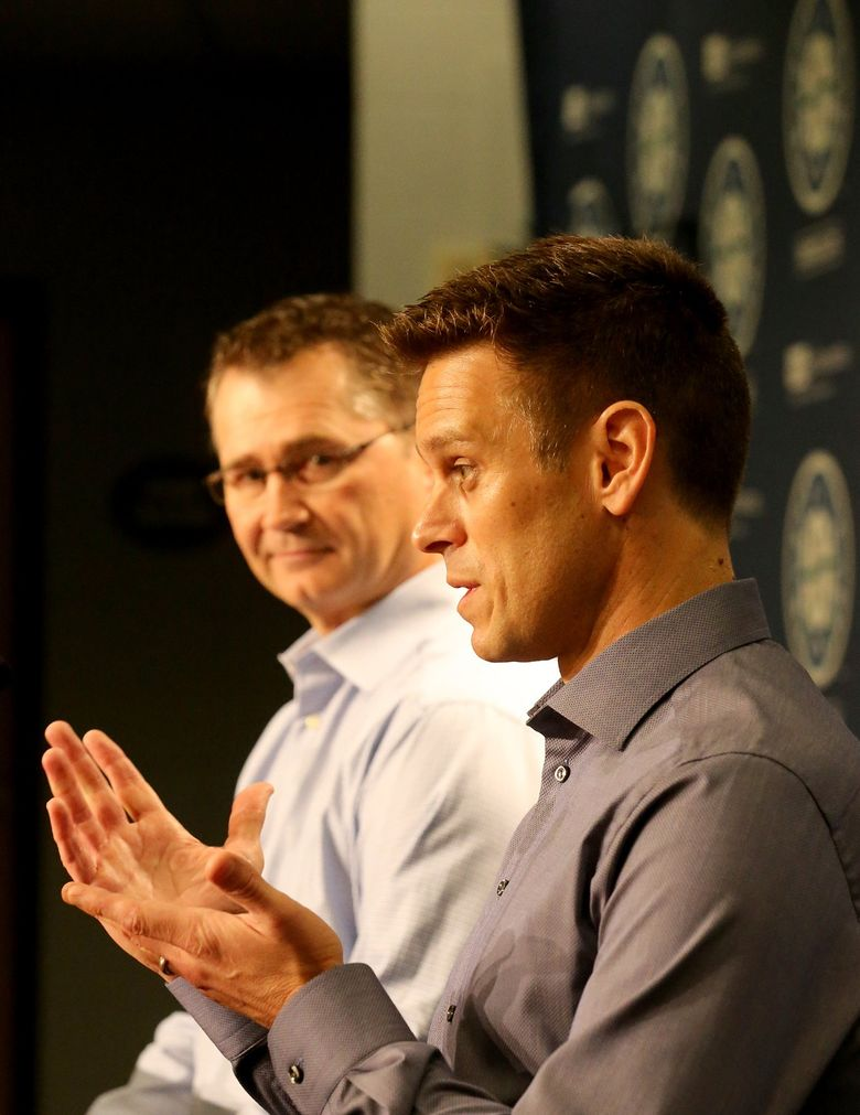 On Tuesday, October 3, 2017, Seattle Mariners Manager Scott Servais, left and Mariners General Manager Jerry Dipoto address the media at a press conference at Safeco Field. (Greg Gilbert/The Seattle Times)