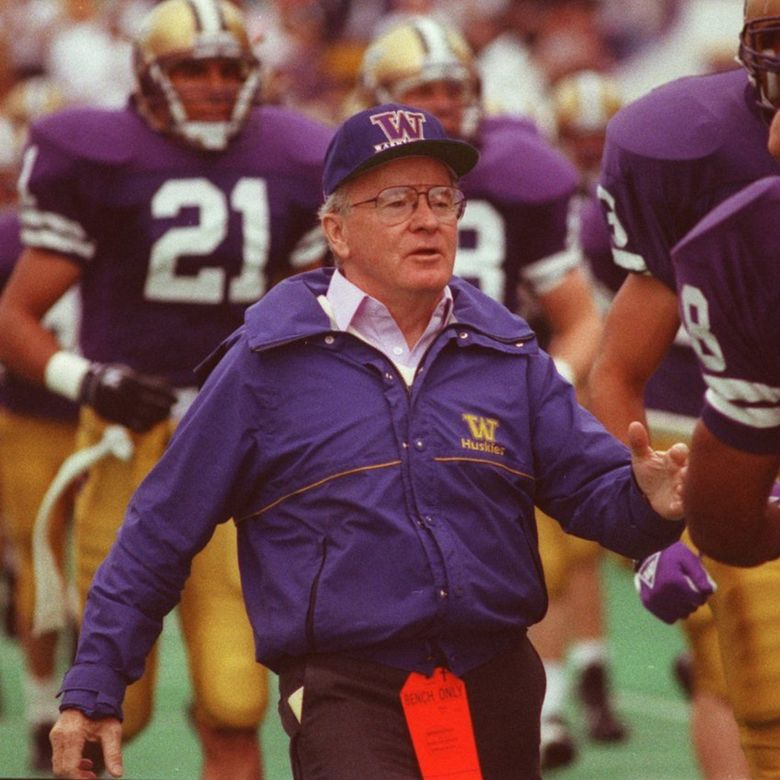 UW football coach Don James in 1991. (Mark Harrison / The Seattle Times)