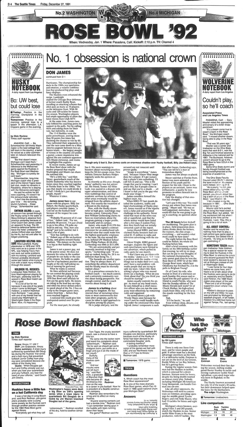 The Seattle Times D1 sports cover days before the 1991-92 Rose Bowl. (Seattle Times archives)