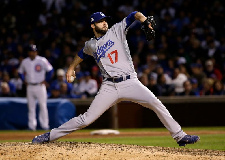 Dodgers relief pitcher Brandon Morrow (17), a former Mariner, throws during the eighth inning of Game 3 of the National League Championship Series against the Cubs on Oct. 17 in Chicago. (Nam Y. Huh/AP)