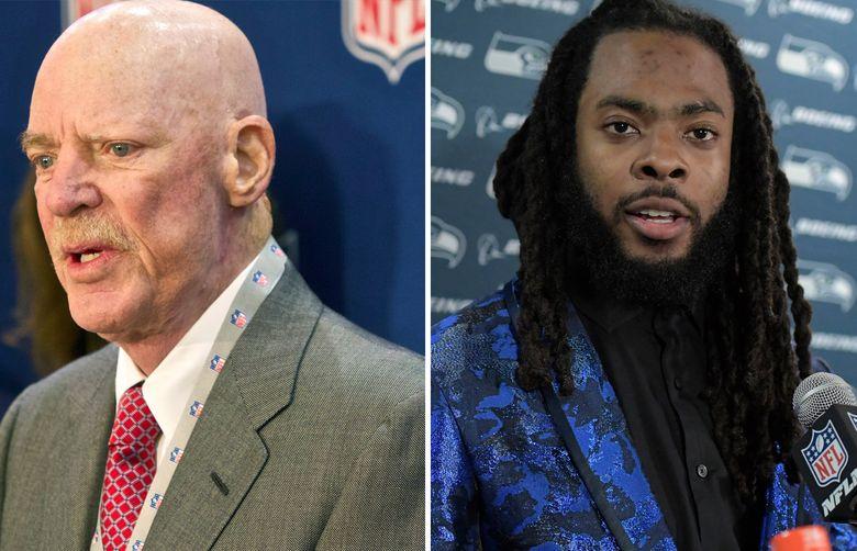 Left, Texans owner Bob McNair. Right, Richard Sherman. (AP file)