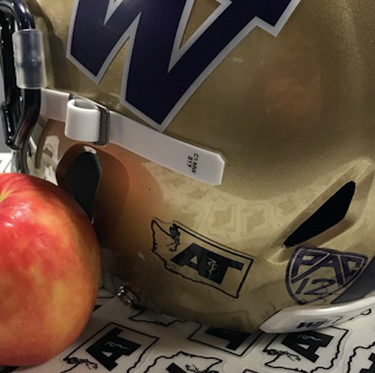 The Huskies will wear helmet stickers in Saturday's Apple Cup to support the Washington State Athletic Trainers' Association's safety in football campaign. (Courtesy Washington State Athletic Trainers' Association)