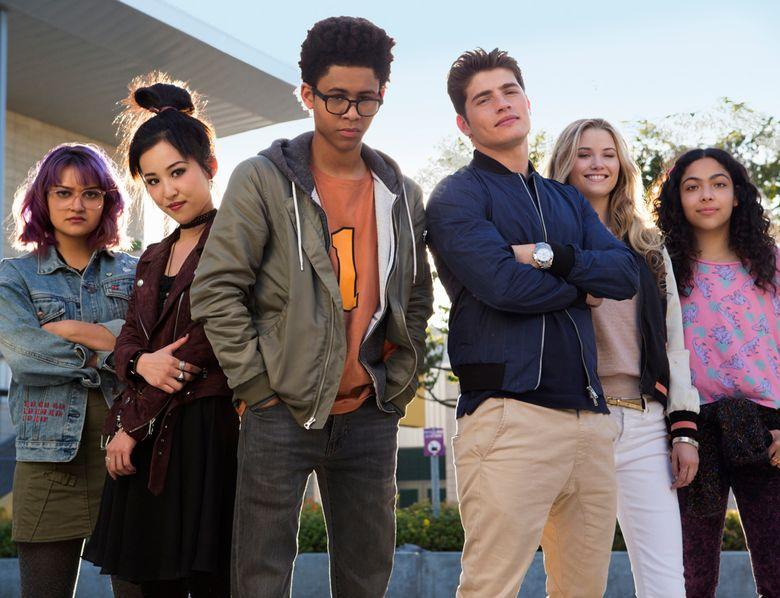 "Gert Ariela Barer, left, Lyrica Okano, Rhenzy Feliz, Gregg Sulkin, Virginia Gardner and Allegra Acosta star in ""Marvel's Runaways,"" which premieres Nov. 21 on Hulu.  (Paul Sarkis/Hulu/TNS)"