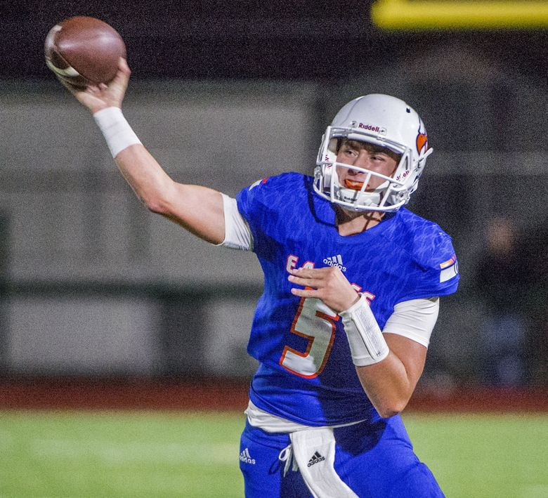 Quarterback Dylan Morris has passed for just short of 2,500 yards in leading Graham-Kapowsin to a No. 4 ranking in the state.  (Peter Haley/The News Tribune)