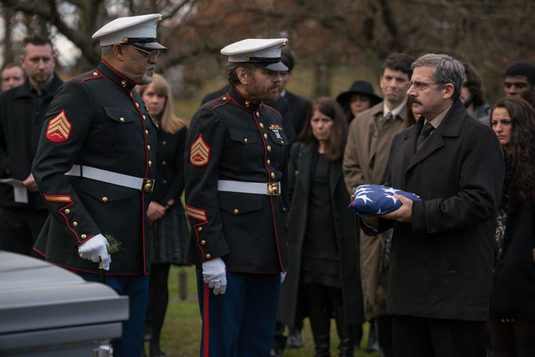 """In """"Last Flag Flying,"""" a Vietnam veteran (Steve Carell, right) reunites with his two Marine buddies (Laurence Fishburne, left, and Bryan Cranston) after the death of his son in the Iraq war. (Wilson Webb)"""