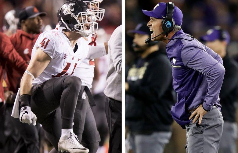 Left, WSU linebacker Dillon Sherman celebrates. Right, UW coach Chris Petersen looks on in anguish. (Bettina Hansen / The Seattle Times / AP)