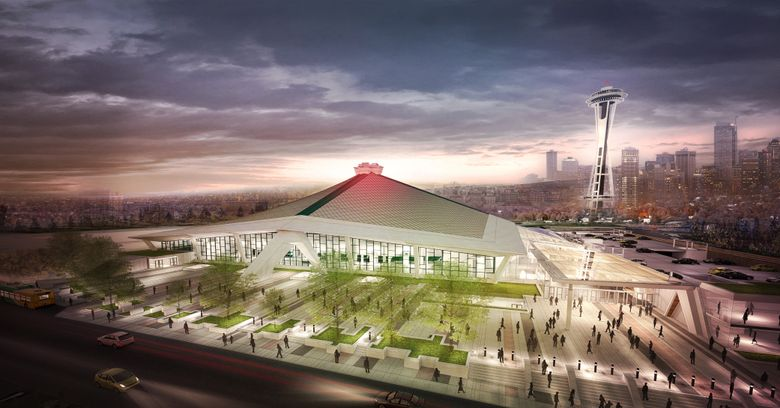 An Oak View Group rendering for the renovation of KeyArena.