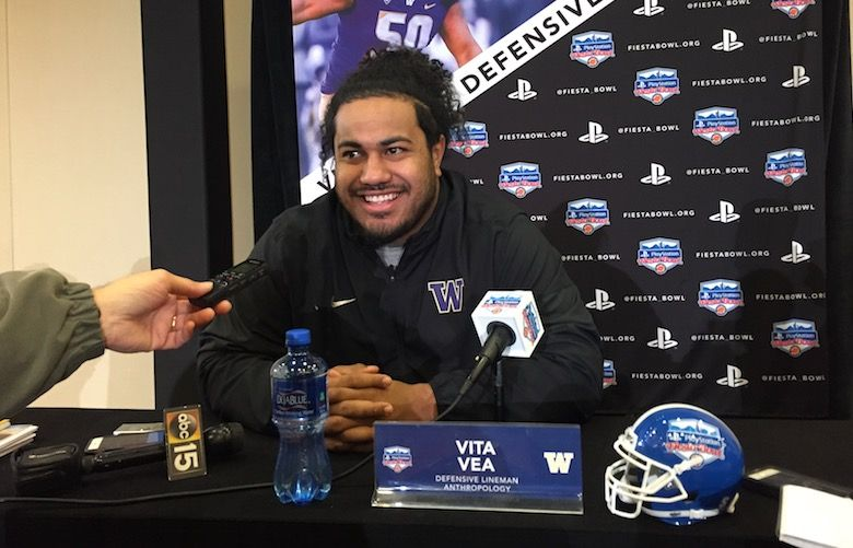 UW's Vita Vea at a Fiesta Bowl press conference, Wednesday, Dec. 27, 2017. (Adam Jude/The Seattle Times)