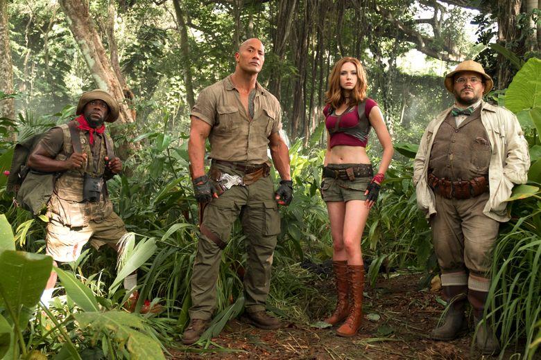 "Kevin Hart, Dwayne Johnson, Karen Gillan and Jack Black play video-game avatars in ""Jumanji: Welcome to the Jungle."" (Frank Masi)"