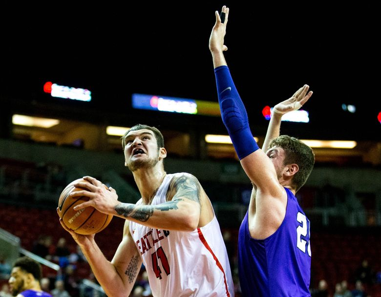 Seattle U center Aaron Menzies has withdrawn from the NBA draft. (Courtney Pedroza/The Seattle Times)