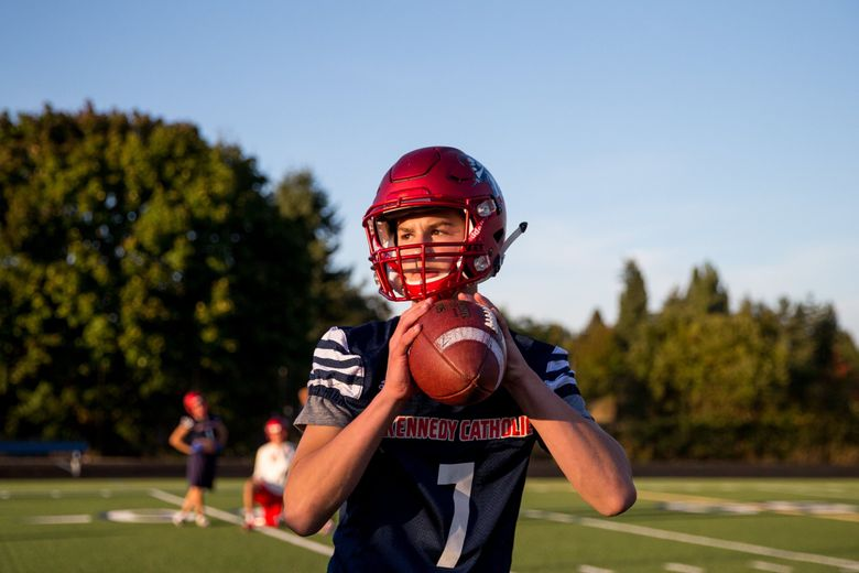 Kennedy Catholic   quarterback Sam Huard showed he's one of the top quarterbacks in the state as a freshman. (Courtney Pedroza / The Seattle Times)