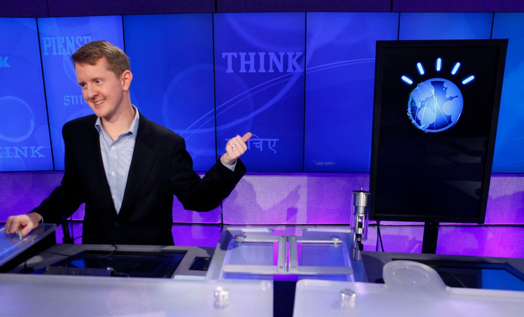 """""""Jeopardy!"""" contestant Ken Jennings was defeated by IBM's Watson in 2011. He wrote """"I for one welcome our new computer overlords"""" alongside his Final Jeopardy answer. (Seth Wenig / The Associated Press, file)"""
