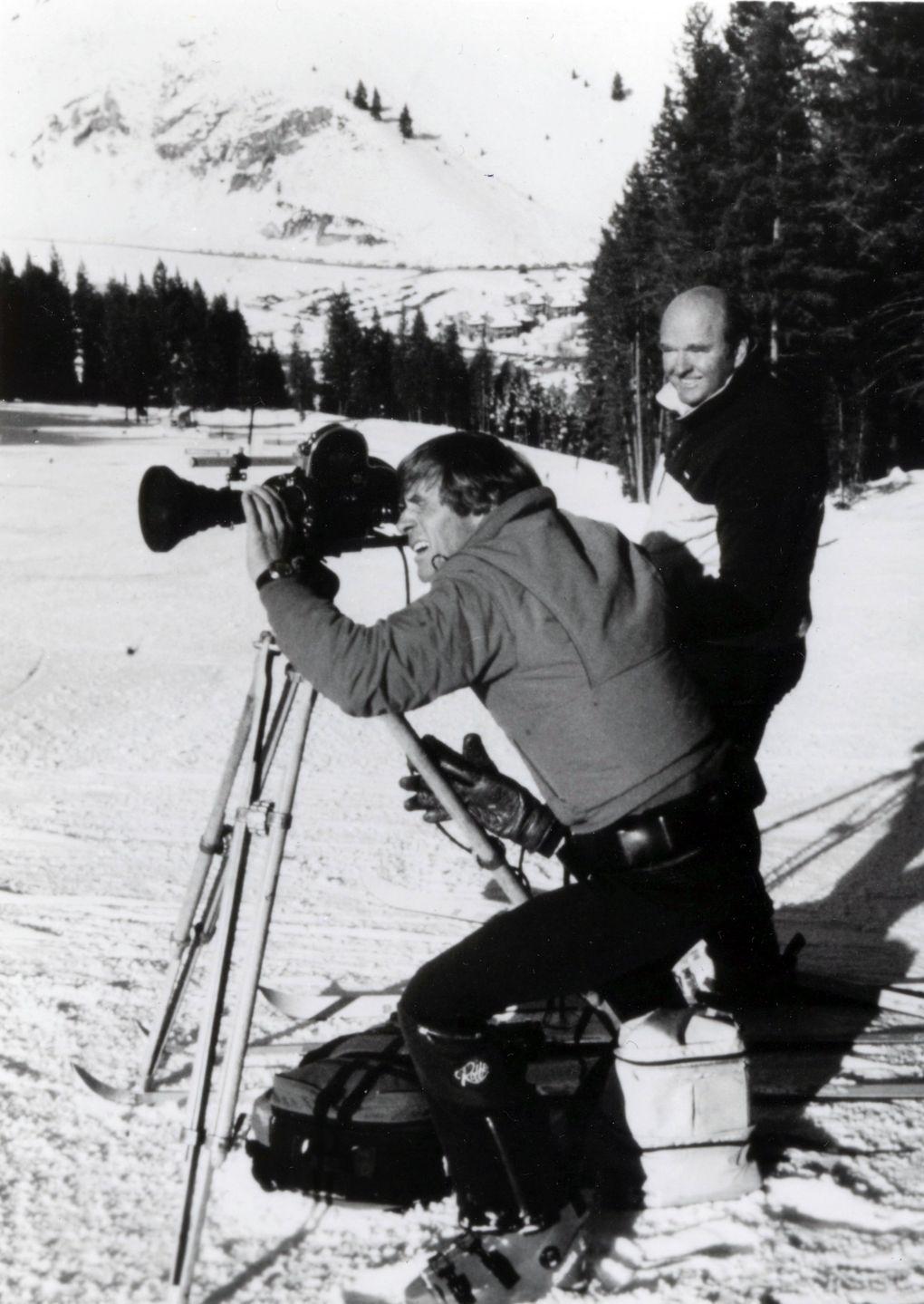 Warren Miller directs cameraman Gary Nate in Sun Valley, Idaho, in 1985. Mr. Miller died Wednesday at age 93. (Warren Miller Enterprises, 1985)