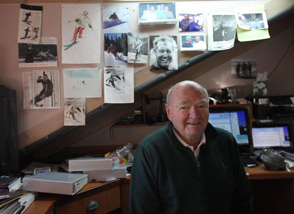 Warren Miller sits in his Orcas Island study in 2010. He was writing an autobiography, surrounded by archives from his adventures. (Steve Ringman / The Seattle Times, file)