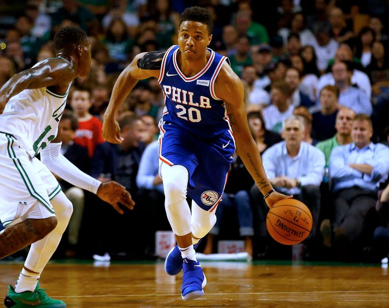 Philadelphia 76ers rookie Markelle Fultz (20), pictured during an Oct. 9 exhibition game in Boston, hasn't played in the regular season since Oct. 23. (Winslow Townson/AP)