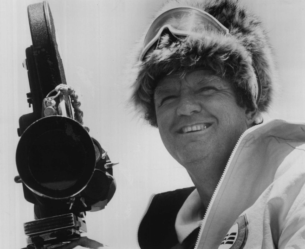 """Warren Miller in the mid-1970s filming """"There Comes a Time."""" (Seattle Times file)"""