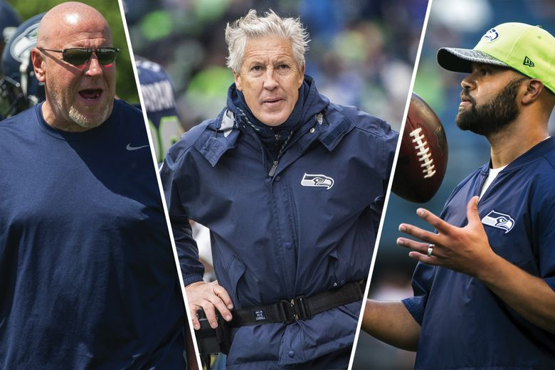 From left to right: Tom Cable, Pete Carroll and Kris Richard. (Seattle Times photos)