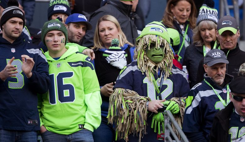 Seattle Seahawks fans watch fourth quarter action between the Seahawks and Arizona Cardinals at CenturyLink Field on Dec. 31, 2017. (Mike Siegel / The Seattle Times)