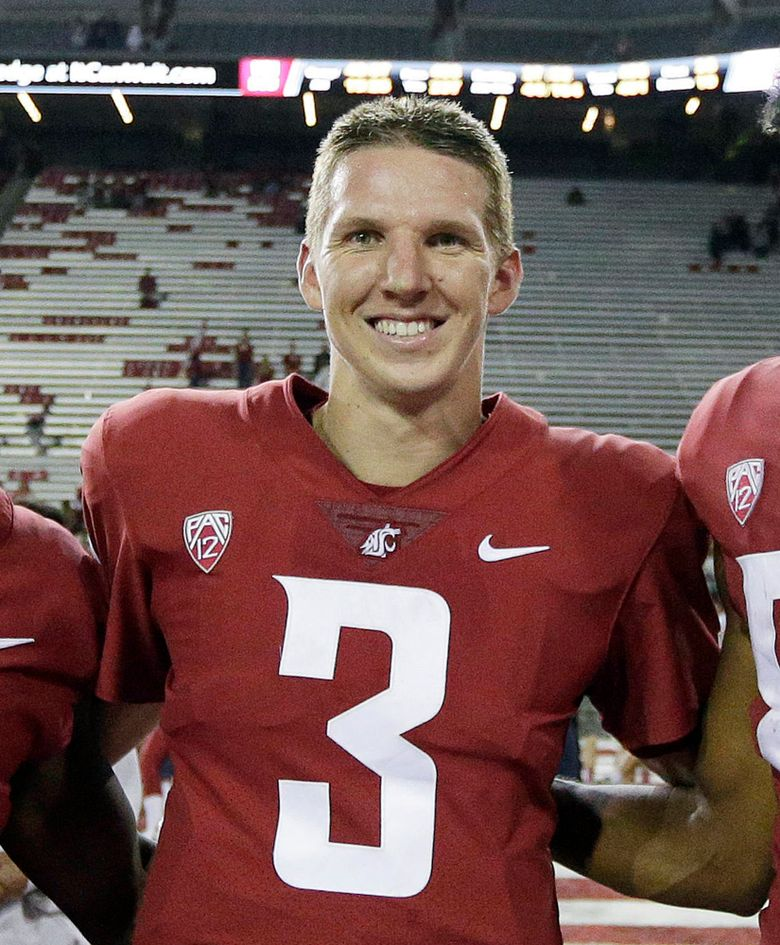 WSU quarterback Tyler Hilinski on Sept. 9 after the Boise State game in Pullman. Hilinski's parents said Tuesday that evidence of CTE was found in Hilinski's brain after his death by suicide in January. (AP Photo/Young Kwak, file)