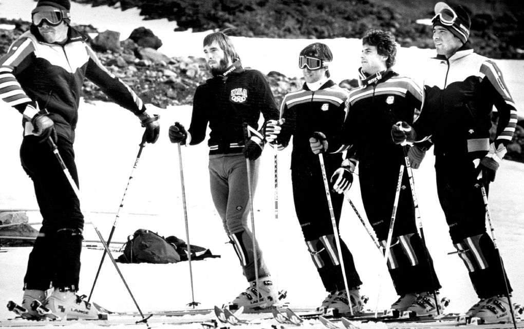 Phil Mahre, left, and Steve Mahre, right, pause with three other U.S. Ski Team racers — from left, their younger brother, Paul; Dan Stripp, and John Buxman — during training on Mount Hood in Oregon on Feb. 10, 1980. (Seattle Times file photo) (Seattle Times Archives)