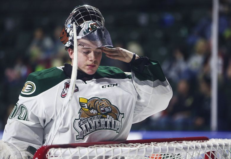 The Everett Silvertips will have to make do this season without standout goalie Carter Hart. (Lindsey Wasson / The Seattle Times)