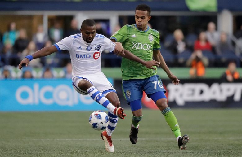 Forner University of Washington Huskies star Hanswalla Bwana is one of several young attacking midfielders the Sounders need to step up Sunday at Sporting Kansas City. (Ted S. Warren/AP)